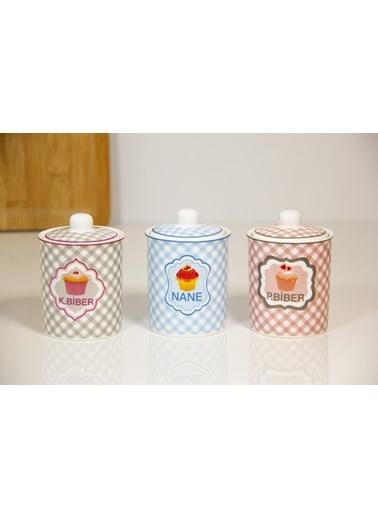 Herevin Üçlü Porselen Baharatlık Renkli